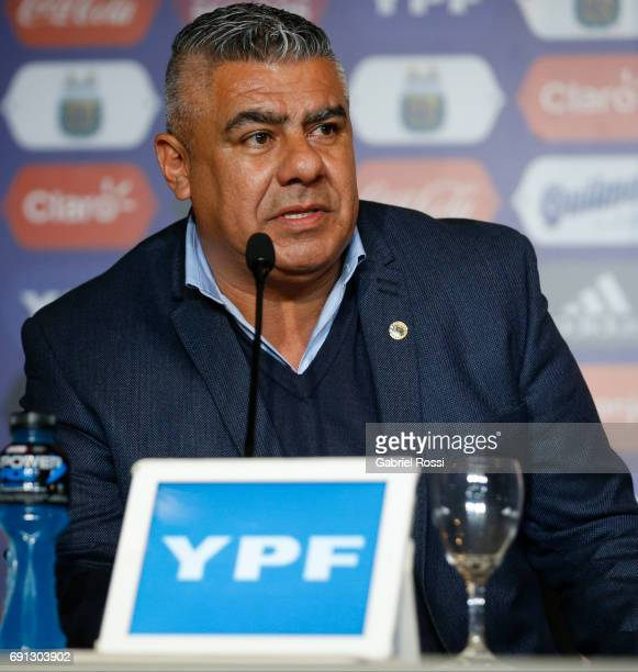 Claudio Tapia President of AFA speaks during the presentation of Jorge Sampaoli as new Argentina coach at Argentine Football Association 'Julio...
