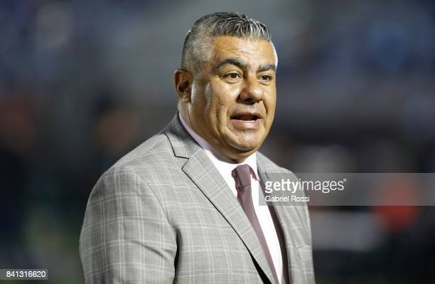 Claudio Tapia President of Argentine Football Association looks on prior to a match between Uruguay and Argentina as part of FIFA 2018 World Cup...