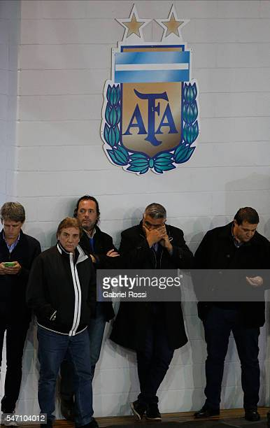 Claudio Tapia President of Barracas Central takes a phone call during an Argentina Football Association extraordinary assembley to determine the...