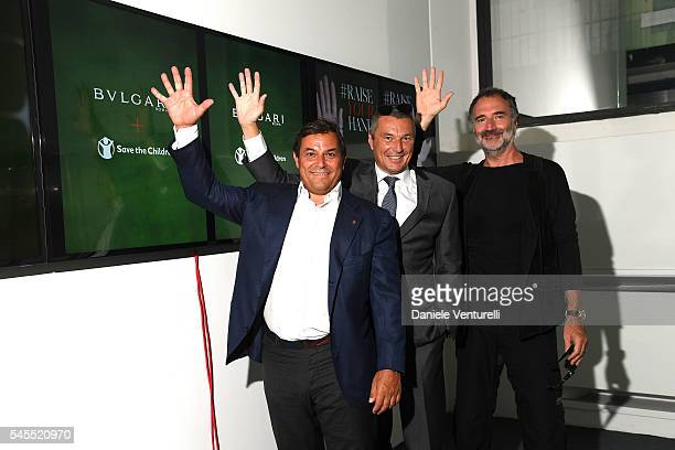 Claudio Tesauro JeanChristophe Babin and Fabrizio Ferri attend the press conference durind the Bvlgari and Save The Children Unveiling of...