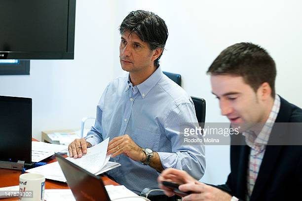 Claudio Vitagliano Refereeing Manager and Eduard J Scott Sports Director attend the Euroleague Basketball Referee's Technical Commission Meeting at...