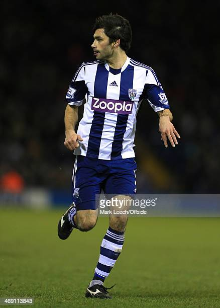 Claudio Yacob of West Brom in action during the Barclays Premier League match between West Bromwich Albion and Chelsea at The Hawthorns on February...