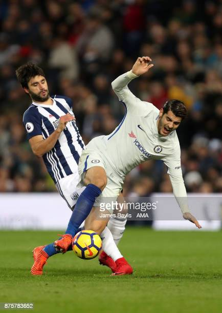 Claudio Yacob of West Bromwich Albion and Alvaro Morata of Chelsea during the Premier League match between West Bromwich Albion and Chelsea at The...