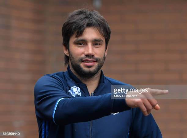 Claudio Yacob of West Bromwich Albion arrives at Turf Moor the Premier League match between Burnley and West Bromwich Albion at Turf Moor on May 6...