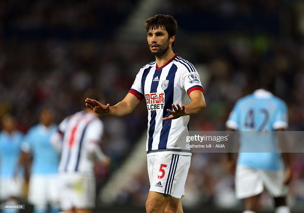 <a gi-track='captionPersonalityLinkClicked' href=/galleries/search?phrase=Claudio+Yacob&family=editorial&specificpeople=4104249 ng-click='$event.stopPropagation()'>Claudio Yacob</a> of West Bromwich Albion during the Barclays Premier League match between West Bromwich Albion and Manchester City at The Hawthorns on August 10, 2015 in West Bromwich, England.
