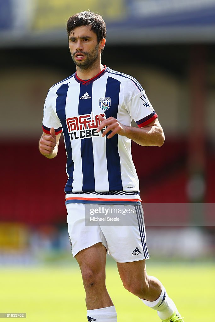 <a gi-track='captionPersonalityLinkClicked' href=/galleries/search?phrase=Claudio+Yacob&family=editorial&specificpeople=4104249 ng-click='$event.stopPropagation()'>Claudio Yacob</a> of West Bromwich Albion during the Pre-Season Friendly match between Swindon Town and West Bromwich Albion at the County Ground on July 25, 2015 in Swindon, England.