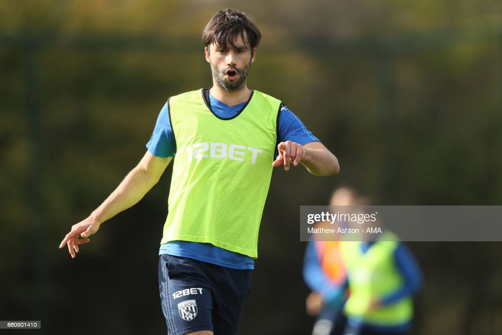 Claudio Yacob of West Bromwich Albion during the West Bromwich Albion training session on October 12, 2017 in West Bromwich, England.
