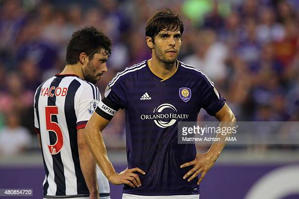 Claudio Yacob of West Bromwich Albion watches over Kaka of Orlando City during the preseason friendly between Orlando City and West Bromwich Albion...