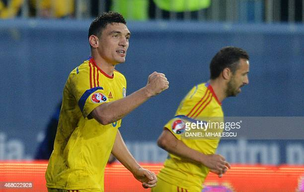 Claudiu Keseru of Romania celebrates after he scored 10 against Faroe Islands during the UEFA Euro 2016 qualifying football match during the Group F...