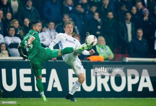 ClaudiuAndre KESERU of PFC Ludogorets Razgrad and Peter Ankersen of FC Copenhagen compete for the ball during the UEFA Europa League Round of 32...