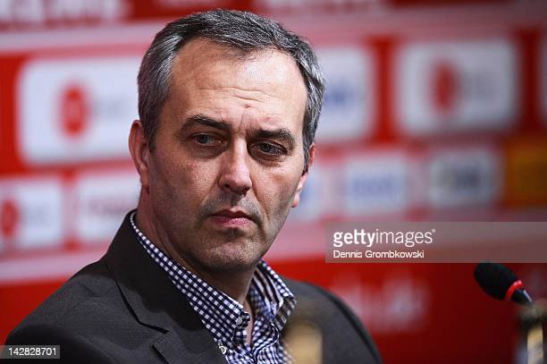 Claus Horstmann CEO of 1 FC Koeln looks on during a 1 FC Koeln press conference at RheinEnergie stadium on April 13 2012 in Cologne Germany