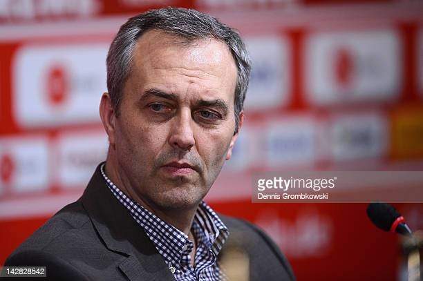 Claus Horstmann CEO of 1 FC Koeln reacts during a 1 FC Koeln press conference at RheinEnergie stadium on April 13 2012 in Cologne Germany