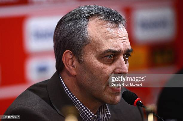 Claus Horstmann CEO of 1 FC Koeln speaks during a 1 FC Koeln press conference at RheinEnergie stadium on April 13 2012 in Cologne Germany