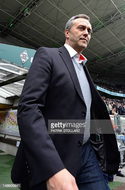 Claus Horstmann manager of FC Cologne arrives for the German first division Bundesliga football match Borussia Moenchengladbach vs 1 FC Cologne in...