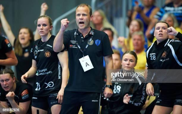 Claus Mogensen head coach of Copenhagen Handball celebrate after goal during the Primo Tours Ligaen 3 Final match between Nykobing Falster Handbold...