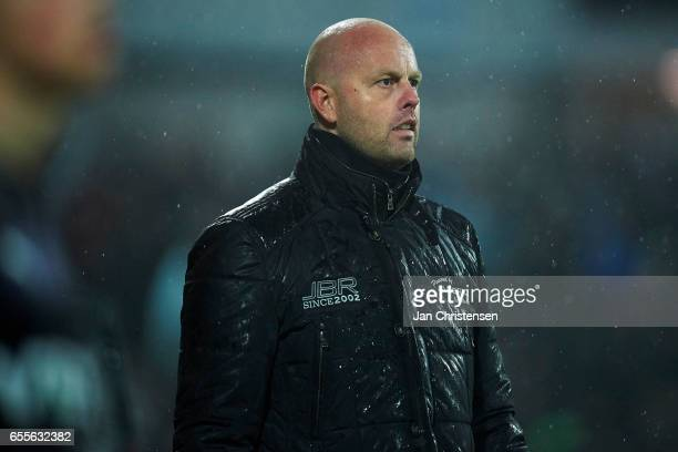 Claus Norgaard head coach of SonderjyskE looks on during the Danish Alka Superliga match between SonderjyskE and Randers FC at Sydbank Park on March...