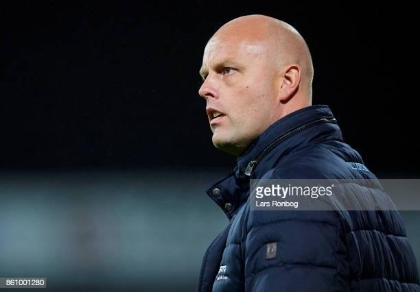 Claus Norgaard head coach of Sonderjyske looks on during the Danish Alka Superliga match between Sonderjyske and FC Midtjylland at Sydbank Park on...