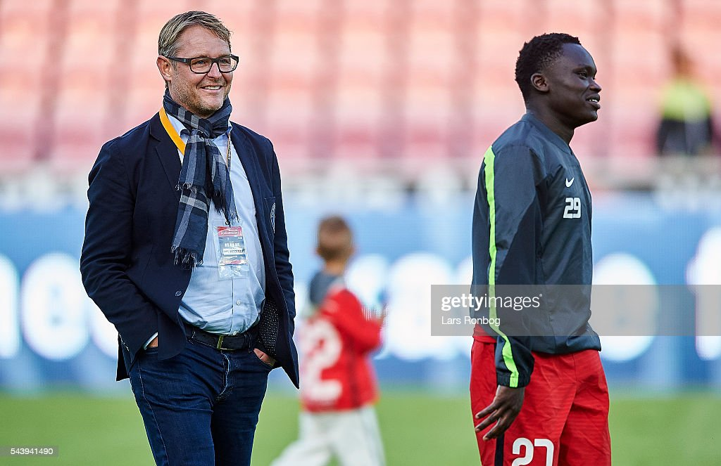 Claus Steinlein, sports director of FC Midtjylland and Pione Sisto of FC Midtjylland walks off the pitch after the Europa League Qualifier match between FC Midtjylland and FK Suduva at MCH Arena on June 30, 2016 in Herning, Denmark.