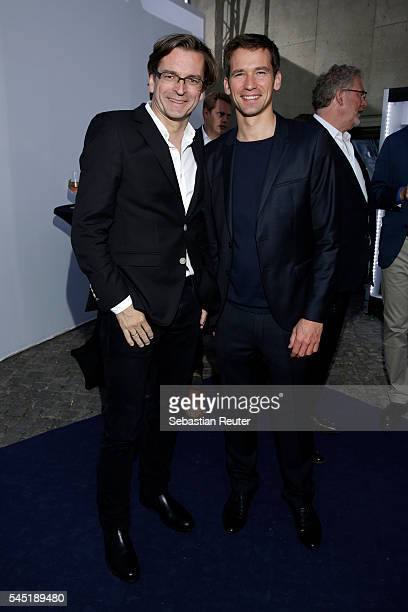 Claus Strunz and guest attend the summer party of Produzentenallianz on July 5 2016 in Berlin Germany