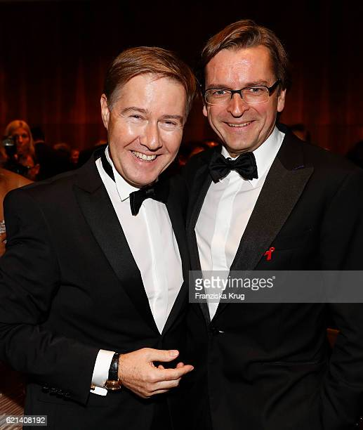 Claus Strunz and Ulrich Meyer attend the aftershow party during the 23rd Opera Gala at Deutsche Oper Berlin on November 5 2016 in Berlin Germany