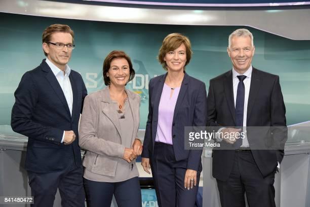 Claus Strunz Sandra Maischberger Maybrit Illner and Peter Kloeppel during 'Das TVDuell Merkel Schulz' Press Preview at Studio Berlin Adlershof on...