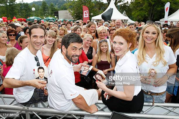 Claus ThullEmden Daniel Sellier Janina Isabell Batoly and Jana Julie Kilka attend the Charity Event Benefitting Flood Victims on July 20 2013 in...