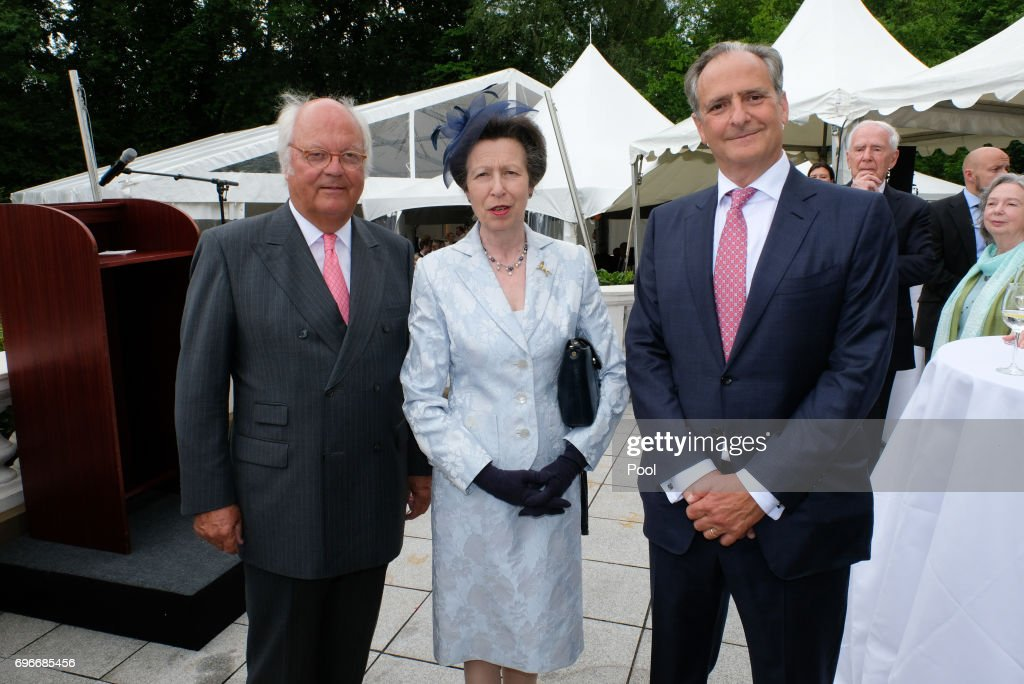 Claus-G. Budelmann (President Anglo German Club) with Princess Anne and Nicholas Teller (HK GB) attend a birthday party for Queen Elizabeth II June 15, 2017 in Hamburg, Germany.