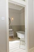 Clawfoot bathtub in bathroom