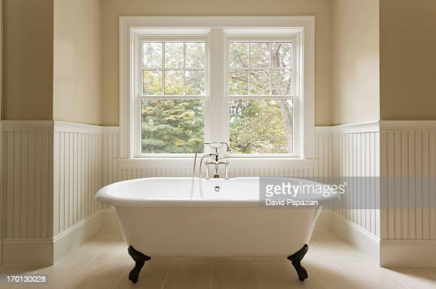 Clawfoot bathtub in custom designed bathroom.