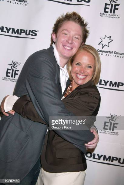 Clay Aiken and Katie Couric during Olympus Fashion Week Spring 2006 Timothy Greenfield Sanders People Photo Room at Bryant Park Tents in New York...