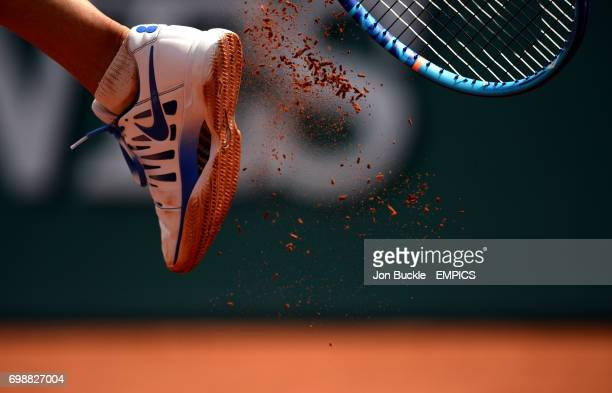 Clay breaks off the sole of the tennis shoes of Maria Sharapova during her 2nd round women's singles match against Vitalia Diatchenko on day four of...