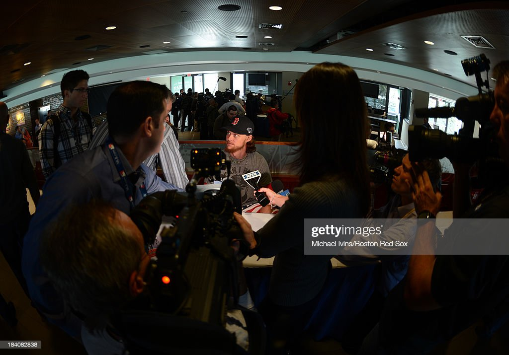 Clay Buchholz #62 of the Boston Red Sox answers questions during media availability a day before the American League Championship Series on October 11, 2013 at Fenway Park in Boston, Masschusetts.