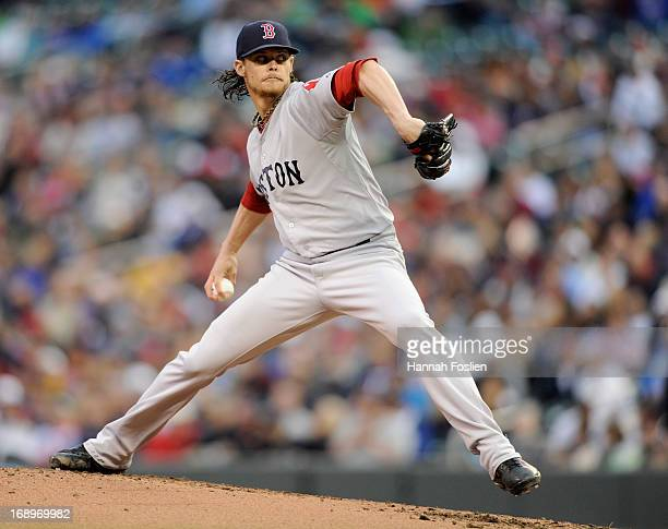 Clay Buchholz of the Boston Red Sox delivers a pitch against the Minnesota Twins during the first inning of the game on May 17 2013 at Target Field...