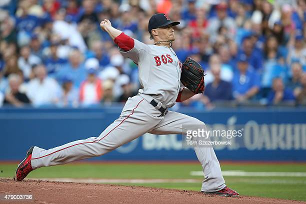 Clay Buchholz of the Boston Red Sox delivers a pitch in the first inning during MLB game action against the Toronto Blue Jays on June 29 2015 at...