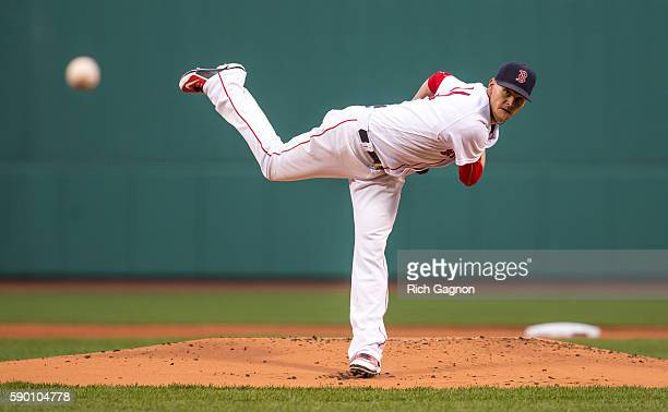 Clay Buchholz of the Boston Red Sox pitches against the Arizona Diamondbacks during the first inning at Fenway Park on August 13 2016 in Boston...