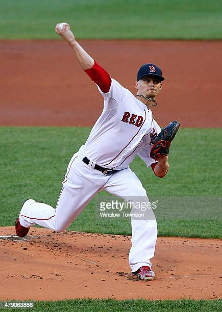 Clay Buchholz of the Boston Red Sox pitches against the Baltimore Orioles during the first inning of the game at Fenway Park on June 24 2015 in...