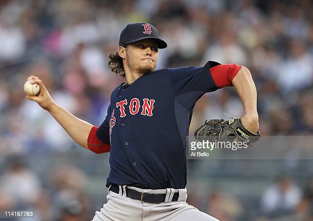 Clay Buchholz of the Boston Red Sox pitches against the New York Yankees during their game on May 13 2011 at Yankee Stadium in the Bronx borough of...