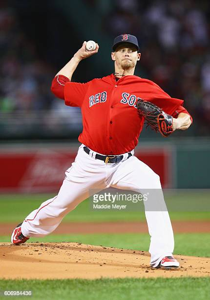 Clay Buchholz of the Boston Red Sox pitches against the New York Yankees during the first inning at Fenway Park on September 16 2016 in Boston...