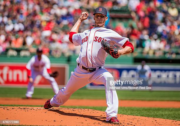 Clay Buchholz of the Boston Red Sox pitches during the first inning against the Oakland Athletics at Fenway Park on June 7 2015 in Boston...