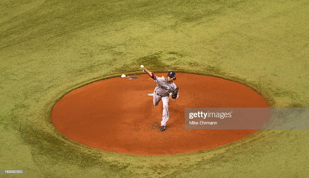 <a gi-track='captionPersonalityLinkClicked' href=/galleries/search?phrase=Clay+Buchholz&family=editorial&specificpeople=4424901 ng-click='$event.stopPropagation()'>Clay Buchholz</a> #11 of the Boston Red Sox pitches in the first inning against the Tampa Bay Rays during Game Three of the American League Division Series at Tropicana Field on October 7, 2013 in St Petersburg, Florida.