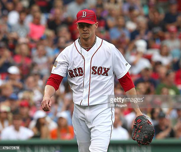 Clay Buchholz of the Boston Red Sox reacts after a scoreless second inning against the Houston Astros at Fenway Park on July 4 2015 in Boston...