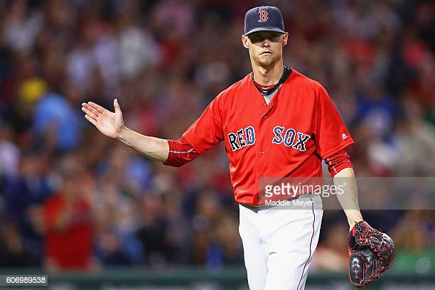 Clay Buchholz of the Boston Red Sox reacts after pitching the third inning against the New York Yankees at Fenway Park on September 16 2016 in Boston...