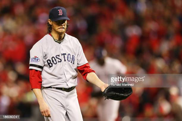 Clay Buchholz of the Boston Red Sox reacts against the St Louis Cardinals during Game Four of the 2013 World Series at Busch Stadium on October 27...