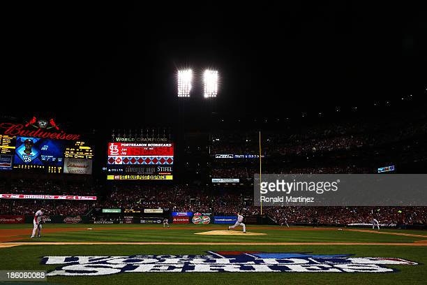 Clay Buchholz of the Boston Red Sox throws a pitch against the St Louis Cardinals during Game Four of the 2013 World Series at Busch Stadium on...
