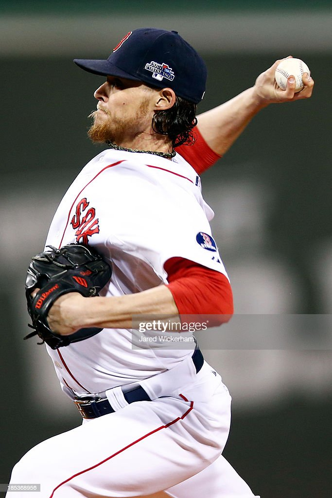 <a gi-track='captionPersonalityLinkClicked' href=/galleries/search?phrase=Clay+Buchholz&family=editorial&specificpeople=4424901 ng-click='$event.stopPropagation()'>Clay Buchholz</a> #11 of the Boston Red Sox throws a pitch in the first inning against the Detroit Tigers during Game Six of the American League Championship Series at Fenway Park on October 19, 2013 in Boston, Massachusetts.