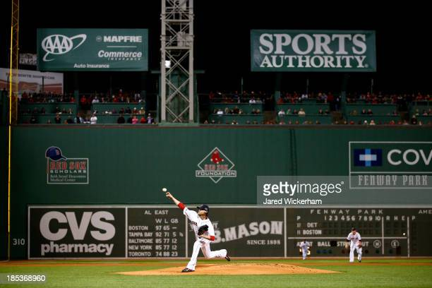 Clay Buchholz of the Boston Red Sox throws a pitch in the first inning against the Detroit Tigers during Game Six of the American League Championship...