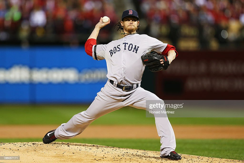 <a gi-track='captionPersonalityLinkClicked' href=/galleries/search?phrase=Clay+Buchholz&family=editorial&specificpeople=4424901 ng-click='$event.stopPropagation()'>Clay Buchholz</a> #11 of the Boston Red Sox throws a pitch in the first inning against the St. Louis Cardinals during Game Four of the 2013 World Series at Busch Stadium on October 27, 2013 in St Louis, Missouri.