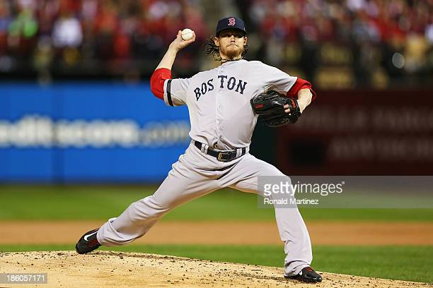 Clay Buchholz of the Boston Red Sox throws a pitch in the first inning against the St Louis Cardinals during Game Four of the 2013 World Series at...