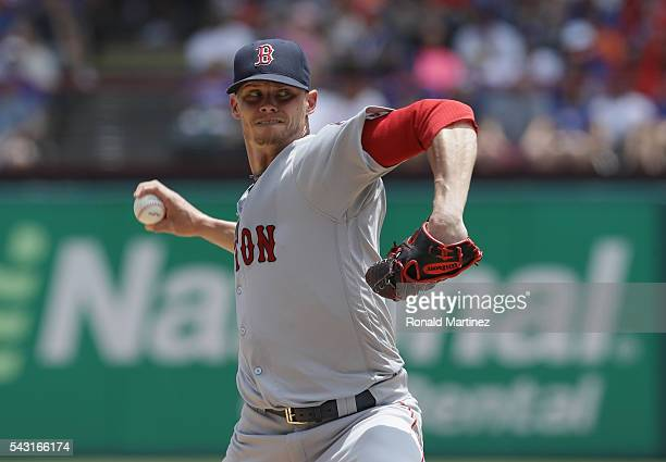 Clay Buchholz of the Boston Red Sox throws against the Texas Rangers in the first inning at Globe Life Park in Arlington on June 26 2016 in Arlington...