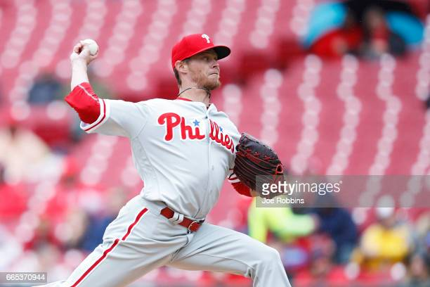 Clay Buchholz of the Philadelphia Phillies pitches in the second inning of the game against the Cincinnati Reds at Great American Ball Park on April...